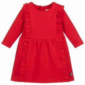 Carrement Beau Girls Red Ruffle Milano Dress Girls